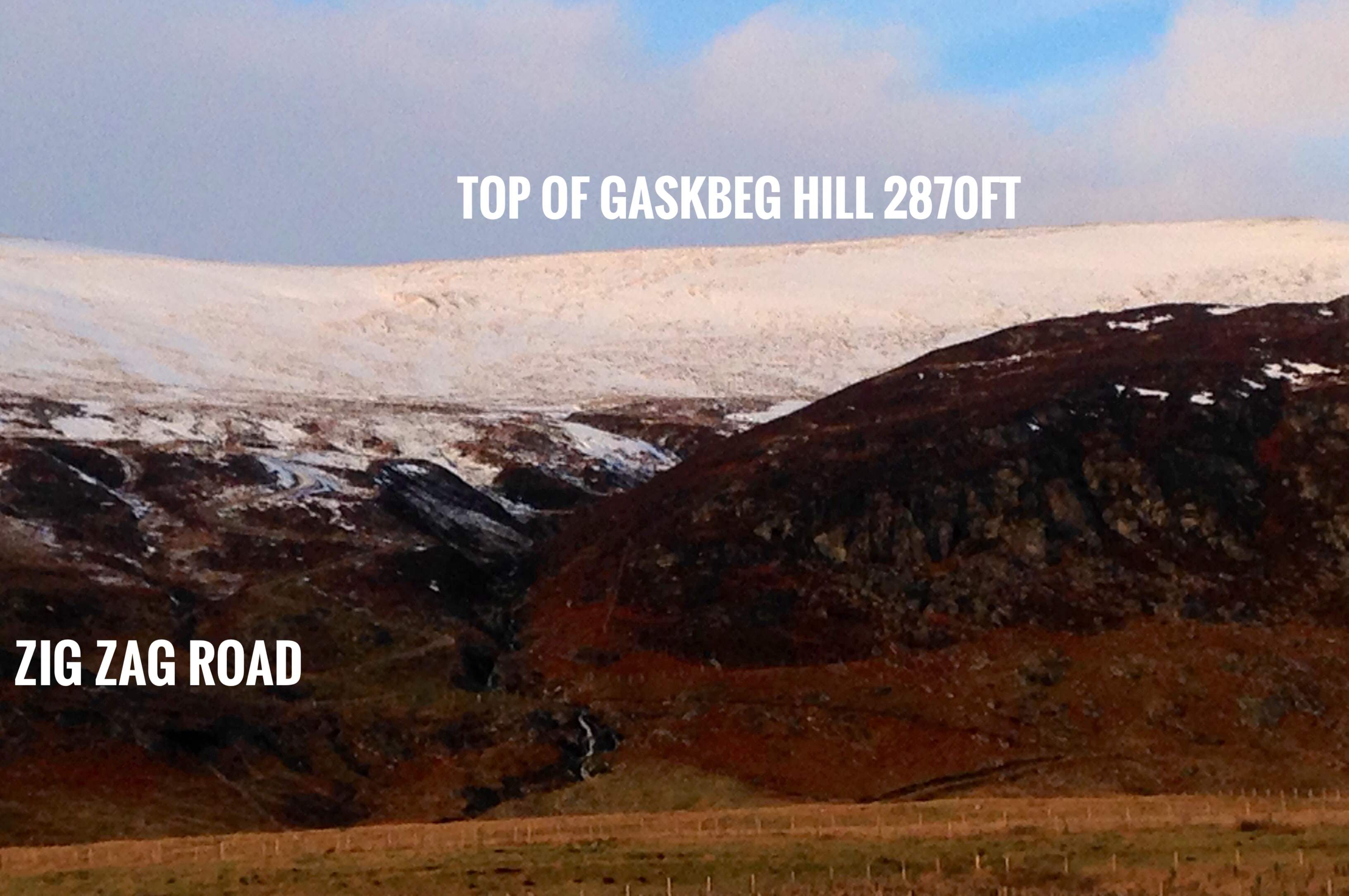 Gaskbeg Hill with a dusting of snow and the height and ZigZag road annotated